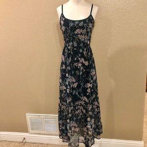 Xhilaration Green floral lace maxi dress Large